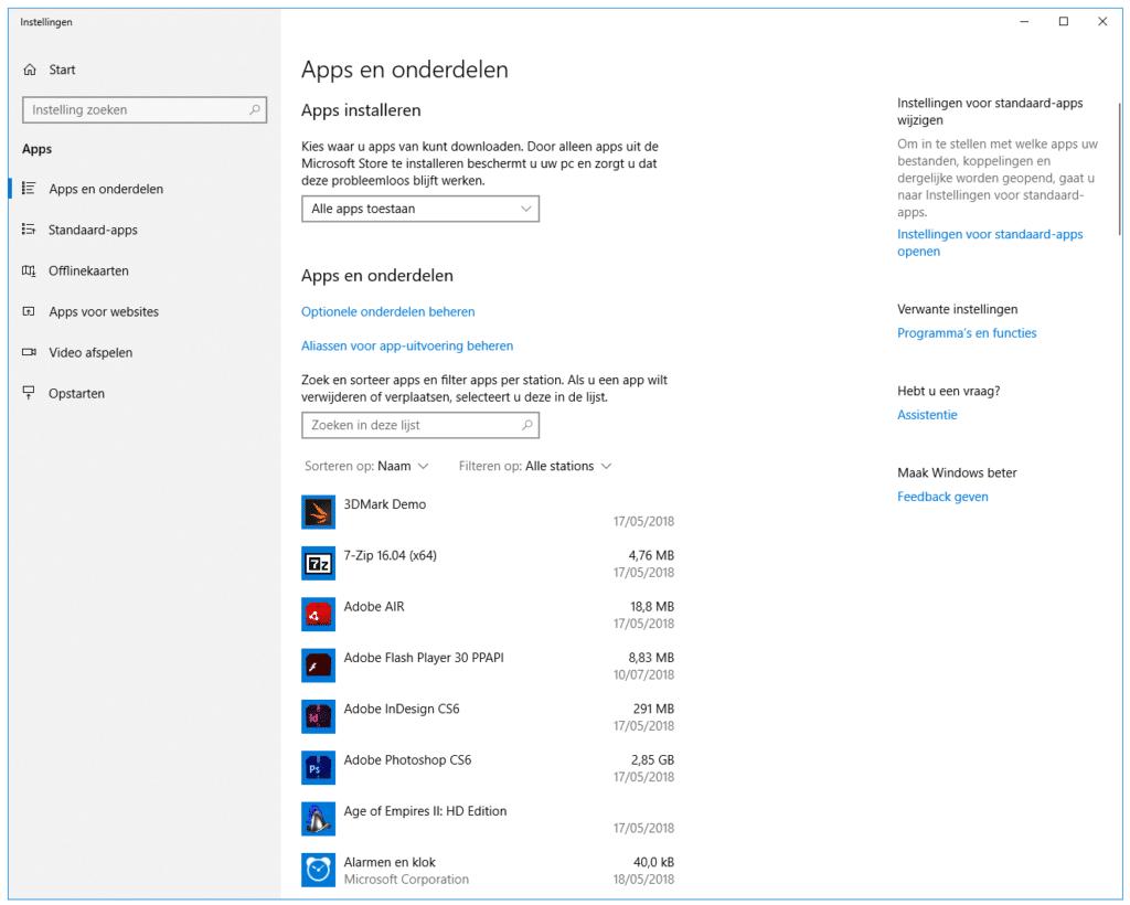 Geinstalleerde programma's verwijderen in Windows