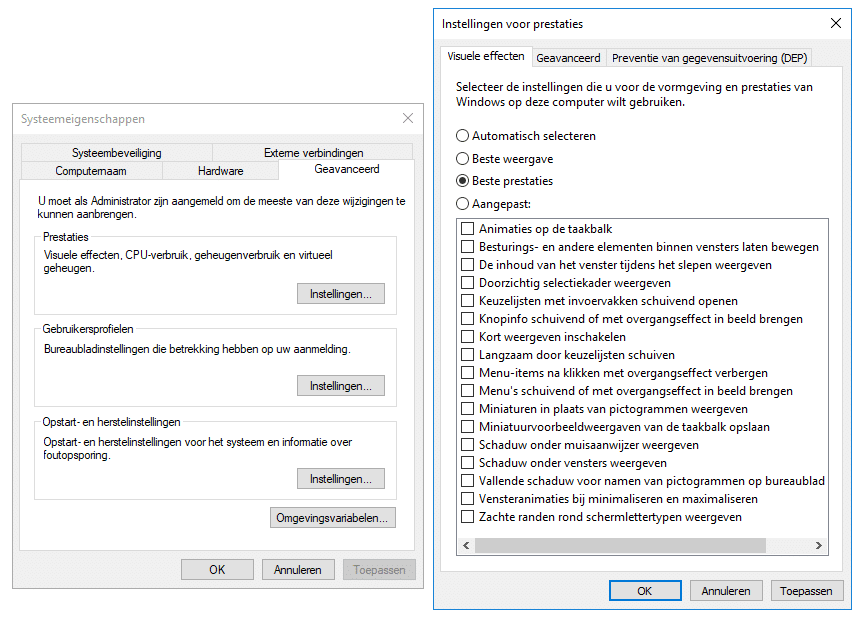 Visuele effecten in Windows 10 uitschakelen