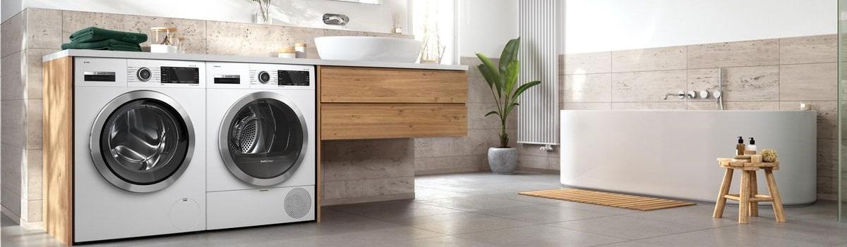stille wasmachine in de badkamer