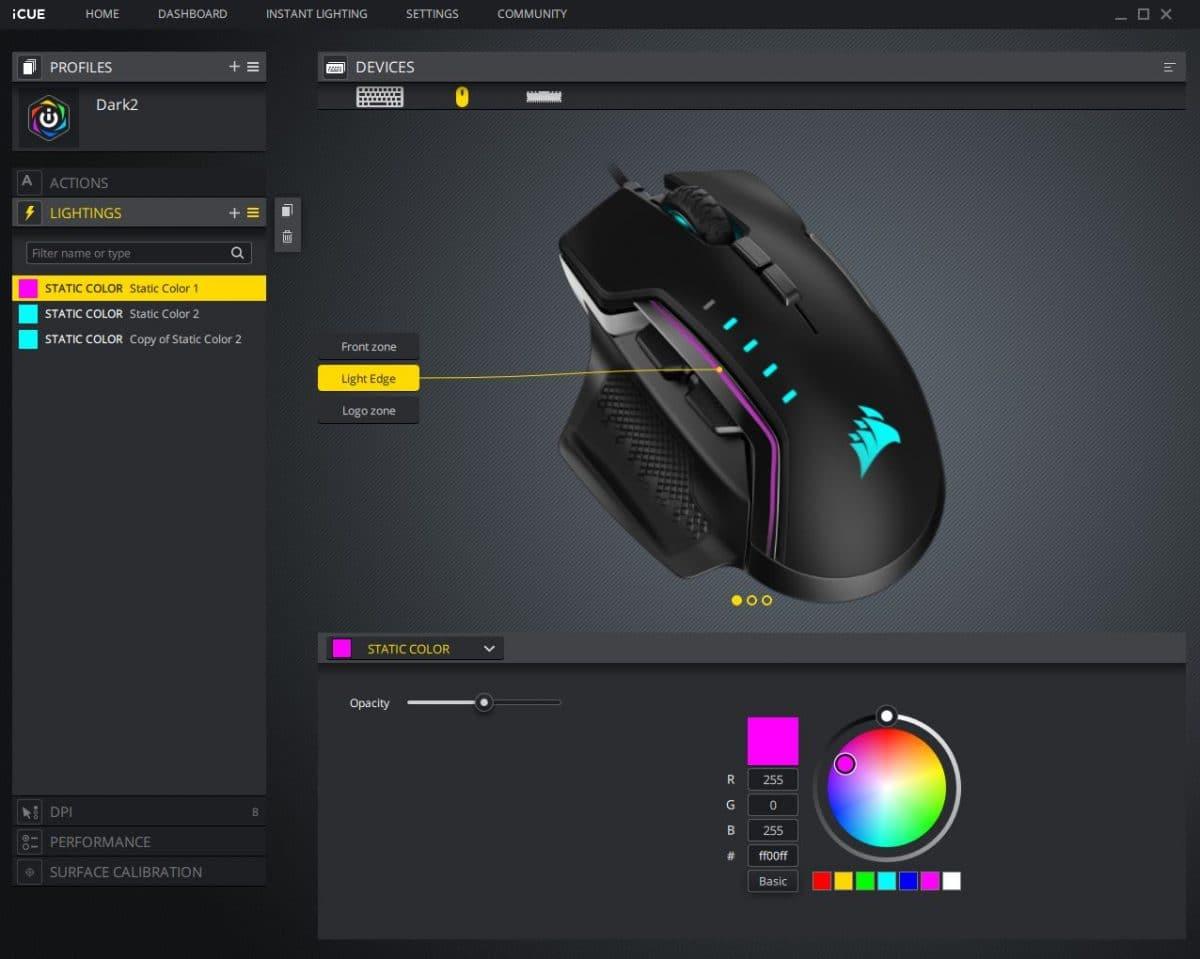 corsair icue is de beste software voor gaming muizen