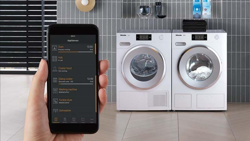 droogkast bedienen via een app