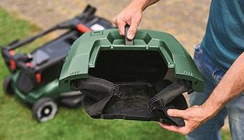 capaciteit van de opvangzak van een  accu grasmaaier
